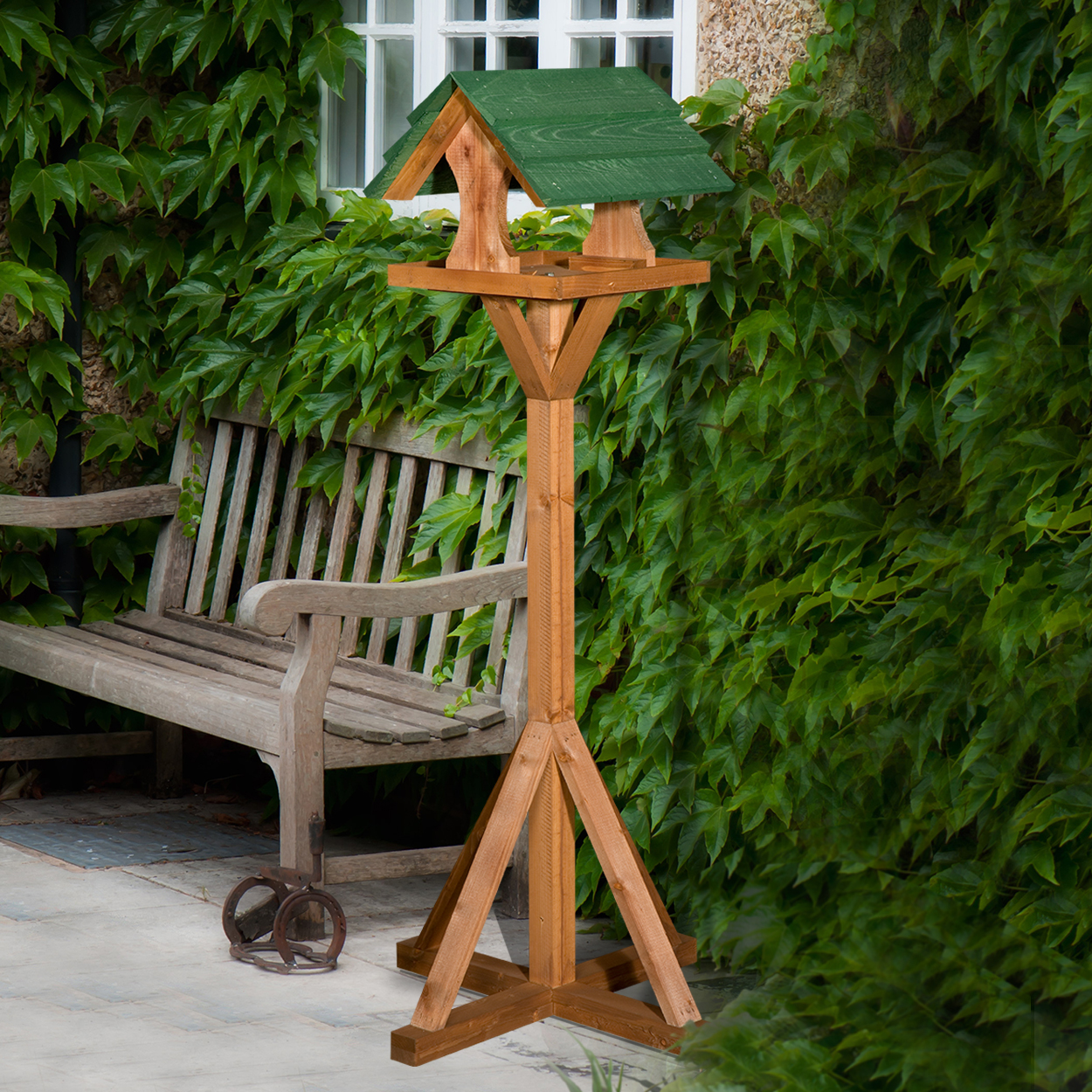 Food Chislet Wooden Bird Table With Green Roof