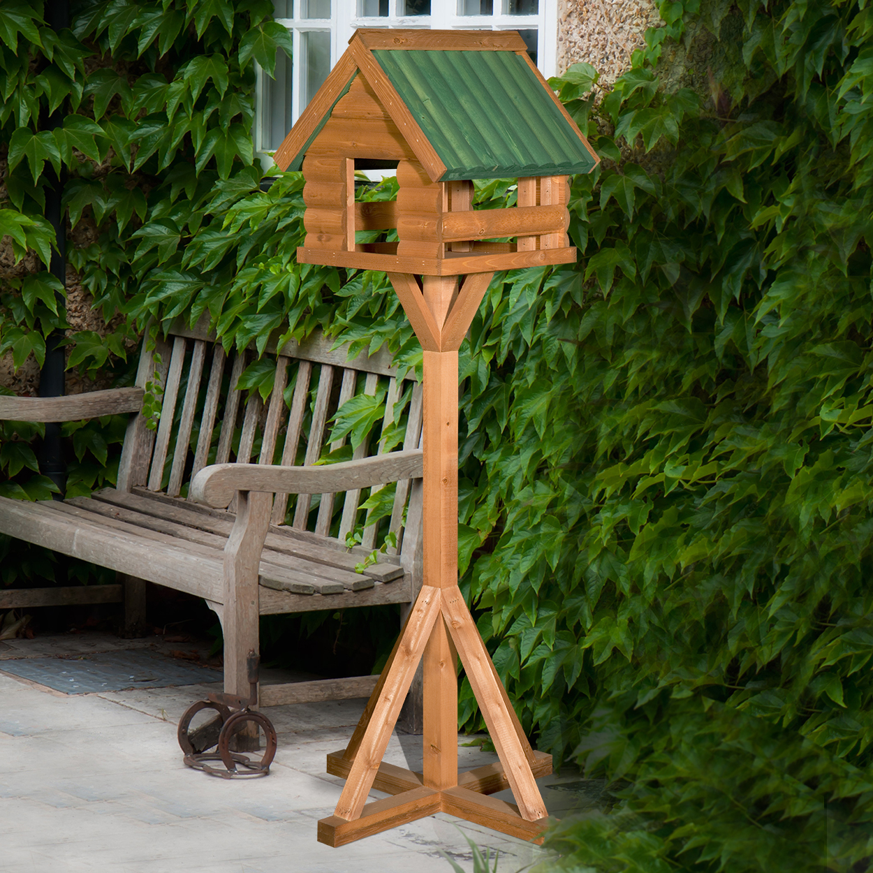 Food Fordwich Wooden Bird Table With Green Roof
