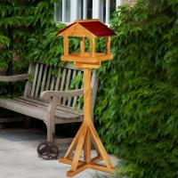 Elgin Wooden Bird Table Treated With Red Roof