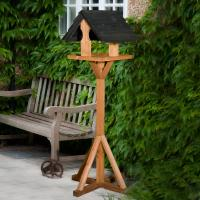 Sarre Wooden Bird Table With Black Roof