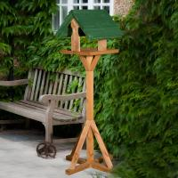 Sarre Wooden Bird Table With Green Roof